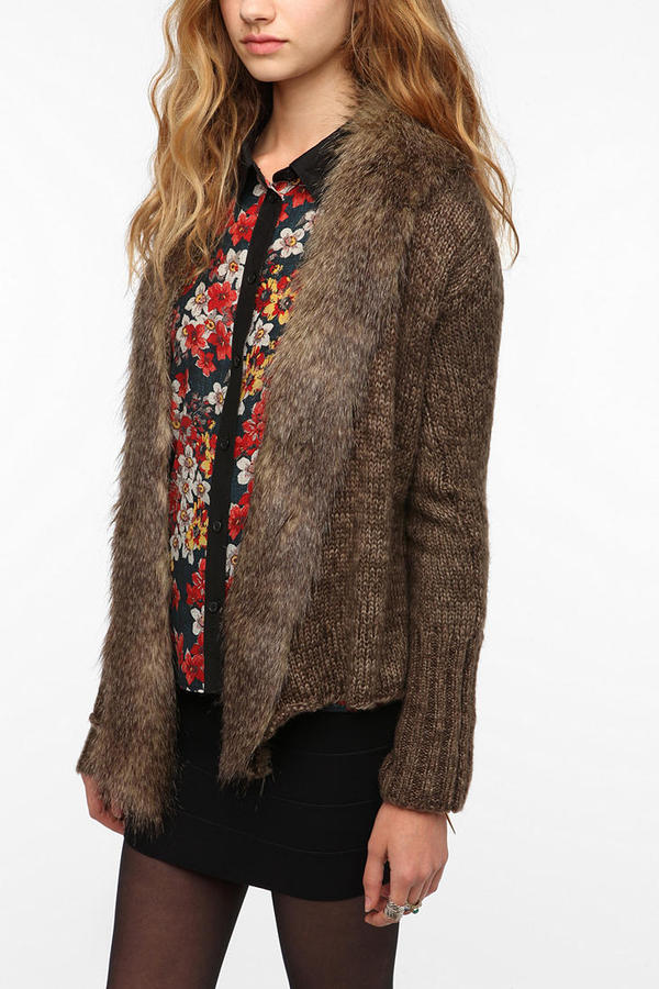 BB Dakota Gill Faux Fur Trimmed Cardigan