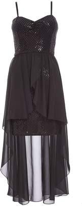 Quiz Black Sequin Dip Hem Dress