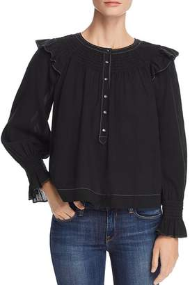 Rebecca Taylor Smock-Stitched Blouse