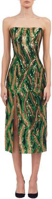 Halpern Strapless Sequined Side-Slit Midi Dress