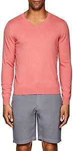 Piattelli MEN'S FINE-KNIT COTTON-BLEND V-NECK SWEATER-RED SIZE M
