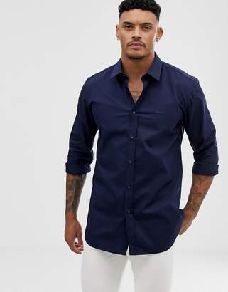 46095c09783c HUGO Elisha01 tonal logo extra slim fit shirt in navy