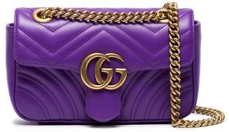 Gucci Purple GG Marmont Mini Leather Shoulder Bag