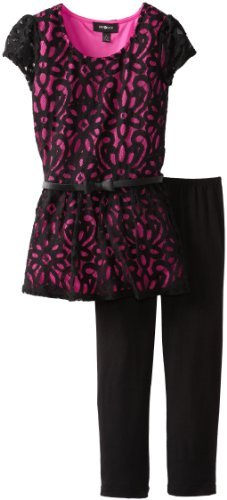 Amy Byer Girls 7-16 Tank with Lace Overlay with Leggings