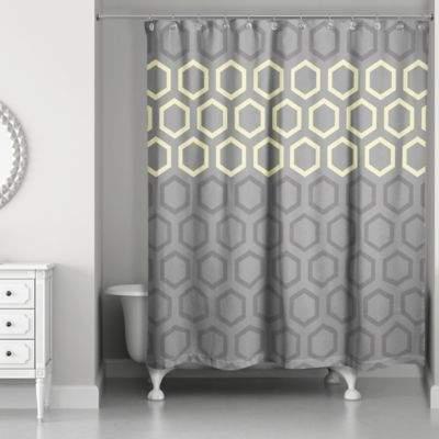 Hexagonal Shower Curtain in Yellow/Grey