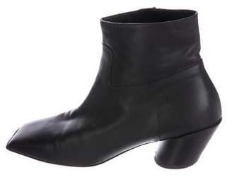 Balenciaga Leather Square-Toe Booties