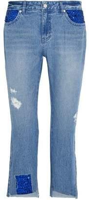 SteveJ & YoniP Steve J & Yoni P Distressed Embellished Low-Rise Straight-Leg Jeans