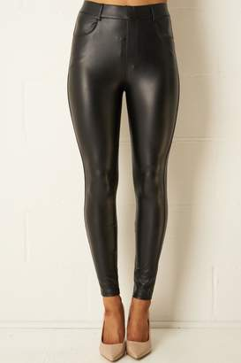 frontrow Black Stretch-Leather-Look Jeans