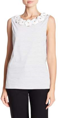 Badgley Mischka Floral Crew Neck Striped Tank Top