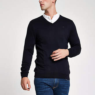 River Island Navy slim fit V neck sweater