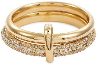 HYÈRES LOR 'Couple' diamond pavé 14k gold double band ring