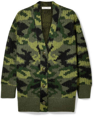 Proenza Schouler Pswl Wool-blend Jacquard Cardigan - Army green