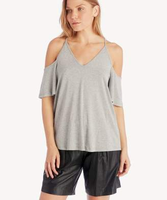 Sole Society Cold Shoulder Flounce Sleeve Knit Top
