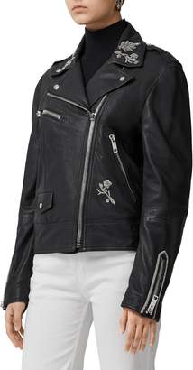 Burberry Peebles Bullion Floral Leather Biker Jacket