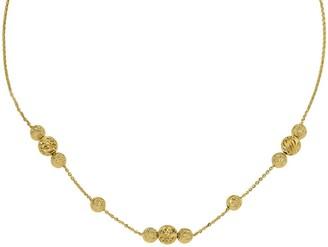 14K Textured Three-Bead Station Adjustable Necklace, 5.1g