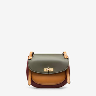Bally She Red, Women's plain calf leather saddle bag in dark red