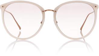 Linda Farrow Titanium Acetate Oversized Sunglasses