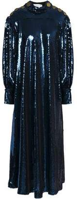 Sonia Rykiel Button-Embellished Sequined Crepe De Chine Midi Dress