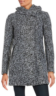 Kenneth Cole Reaction Asymmetrical Hooded Coat $240 thestylecure.com