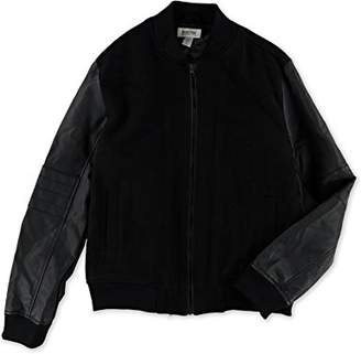 Kenneth Cole Reaction Men's Pleather Wool Bomber