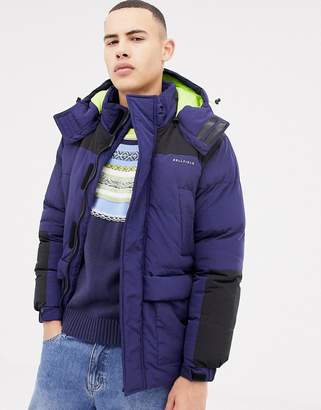 Bellfield hooded puffer jacket with color block