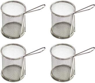 De Partie Circular Stainless Steel 4-Piece Mini Chip Bucket Set