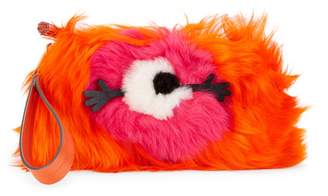 Anya Hindmarch Creeper One-Eyed Dyed Sherling Clutch