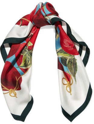 Dolce & Gabbana - Printed Silk-twill Scarf - Red $365 thestylecure.com