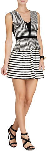 BCBGMAXAZRIABcbgmaxazria Piper V-Neck Striped Peplum Dress