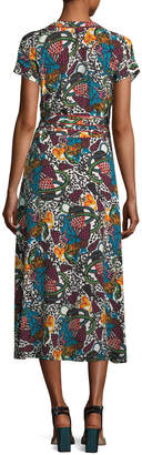Veronica Beard Serena V-Neck Printed Wrap Dress