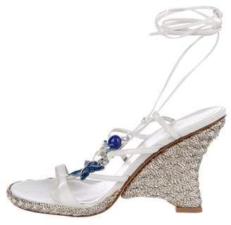 Stuart Weitzman Embellished Wedge Sandals