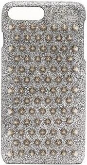 Christian Louboutin Loubiphone Metallic Leather Iphone 7+ & 8+ Case - Womens - Silver