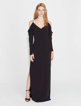 Halston Cold Shoulder Draped Sleeve Crepe Gown