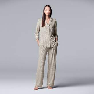 Vera Wang Women's Simply Vera Notch Collar Shirt & Pants Pajama Set
