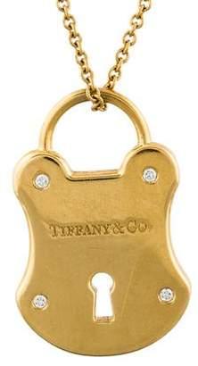 Tiffany & Co. 18K Diamond Emblem Lock Pendant Necklace