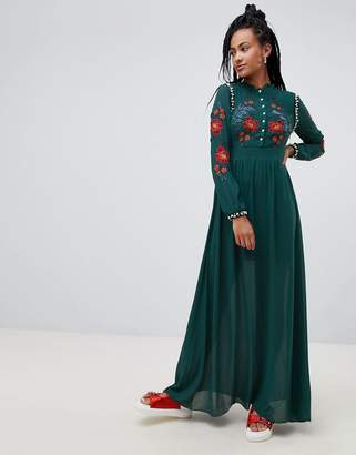 Glamorous premium maxi dress with pearl embellishment and floral embroidery