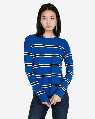 Express Striped Shirttail Hem Sweater