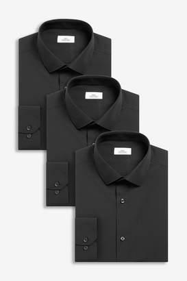 Next Mens Black Slim Fit Single Cuff Shirts Three Pack - Black