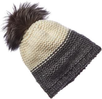 Portolano Cashmere Contrast Wool-Blend Hat