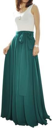 MELANSAY Beatiful Bow Tie Summer Beach Chiffon High Waist Maxi Skirt M
