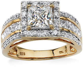 FINE JEWELRY Diamonart Womens 2 1/5 CT. T.W. White Cubic Zirconia 18K Gold Over Silver Engagement Ring
