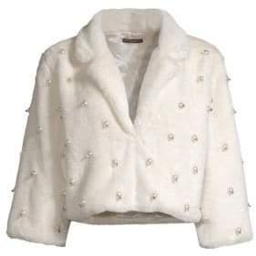 Alberto Makali Faux-Fur Pearled Crop Jacket