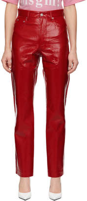MSGM Red Vinyl Trousers