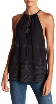 Love Stitch Sleeveless Eyelet Hemmed Tank