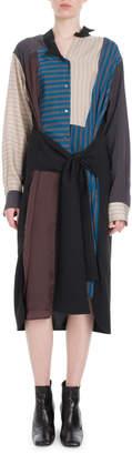 Loewe Long-Sleeve Button-Front Tie-Waist Patchwork Stripe Shirtdress