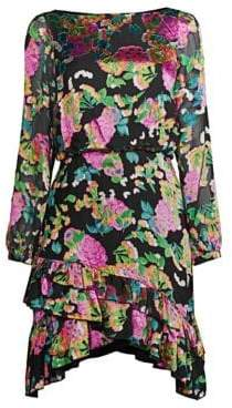Saloni Women's Felicia Floral Silk Mini Dress - Hydrangea - Size 6