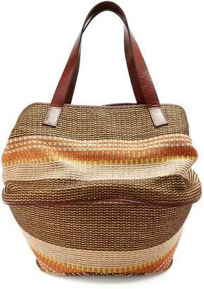 Max Mara Party raffia and leather basket bag