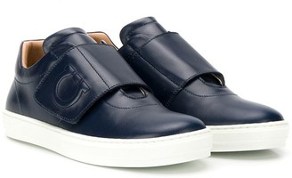 Salvatore Ferragamo Kids T-bar touch strap sneakers