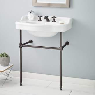"""CheviotProducts Metal 28"""" Console Bathroom Sink with Overflow"""