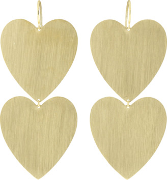 Irene Neuwirth JEWELRY Large Double Heart Flat Gold Earrings